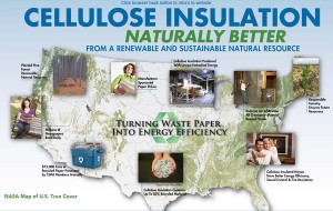 graphic of the life cycle of cellulose insulation production