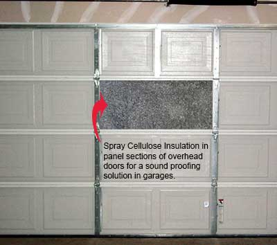 Cellulose insulation in overhead garage door