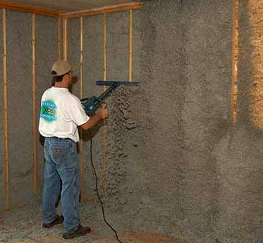 Photo of installing blown in cellulose insulation