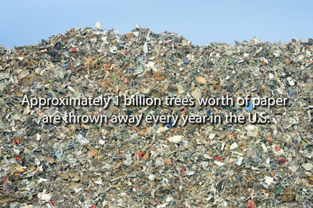 Paper in Landfill with esitmate of annual U.S. waste paper.
