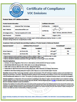 AFT VoC Certificate for Cellulose Insulation CIMA