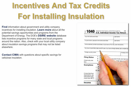 CIMA web info for Income Tax Credits for Insulation