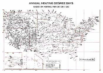 US Anual Average Annual Heating Degree Days Map