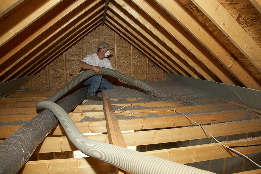 DIY attic insulation with cellulose insulation4090