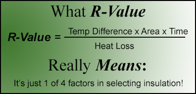R-Value Formula is just 1 of 4 indicators of insulation effectiveness