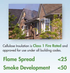 Cellulose insulation flame spread and smoke development ratings