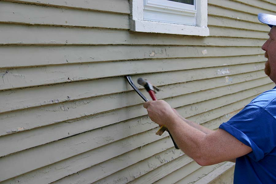 Exterior wall retrofit with cellulose insulation step 1-remove siding2020